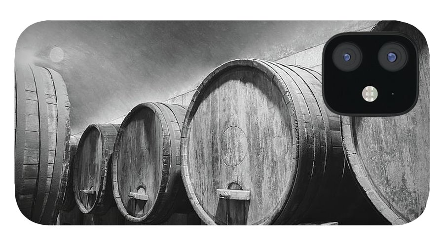 Alcohol IPhone 12 Case featuring the photograph Underground Wine Cellar With Wooden by Feellife