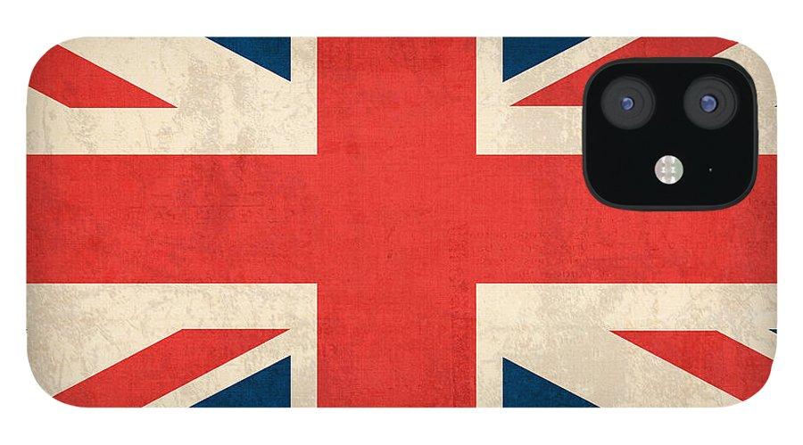 United Kingdom Union Jack England Britain Flag Vintage Distressed Finish London English Europe Uk Country Nation British IPhone 12 Case featuring the mixed media United Kingdom Union Jack England Britain Flag Vintage Distressed Finish by Design Turnpike