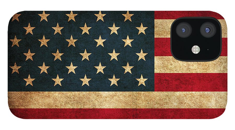 United States American Usa Flag Vintage Distressed Finish On Worn Canvas IPhone 12 Case featuring the mixed media United States American USA Flag Vintage Distressed Finish on Worn Canvas by Design Turnpike