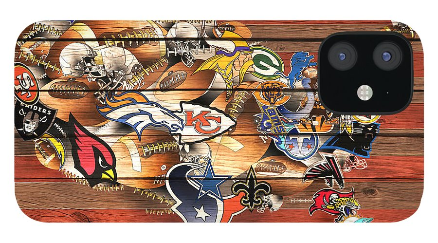 Nfl IPhone 12 Case featuring the painting Usa Nfl Map Collage 10 by Bekim M
