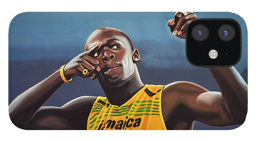 Usain Bolt IPhone 12 Case featuring the painting Usain Bolt Painting by Paul Meijering