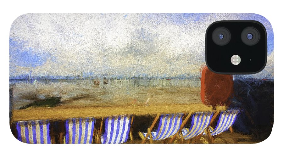 Clouds IPhone 12 Case featuring the photograph Vacant deckchairs by Sheila Smart Fine Art Photography
