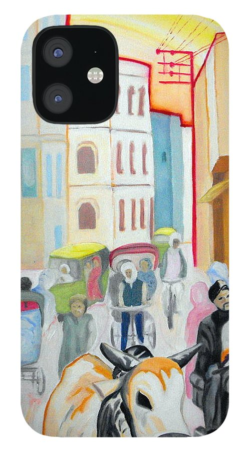 Varanasi iPhone 12 Case featuring the painting Varanasi Cow by Caroline Cunningham