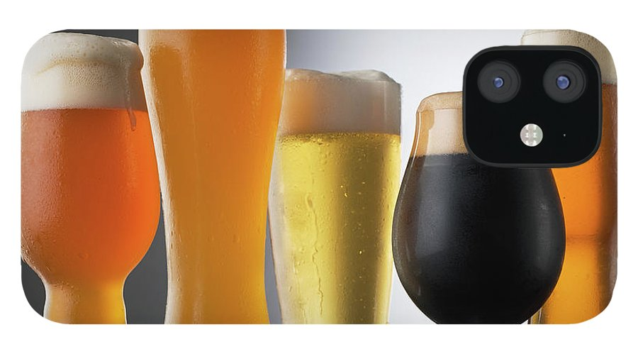 Five Objects IPhone 12 Case featuring the photograph Variety Of Beer Glasses by Jack Andersen
