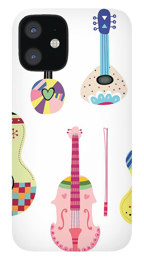 White Background IPhone 12 Case featuring the digital art Various Kinds Of Stringed Instruments by Eastnine Inc.