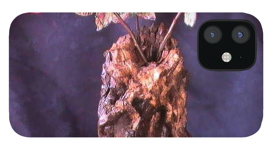 Wood Vase IPhone 12 Case featuring the mixed media Vase of Flowers by Tanna Lee M Wells