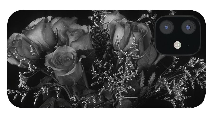 Rose IPhone 12 Case featuring the photograph Vase of Roses in Black and White by Keith Gondron