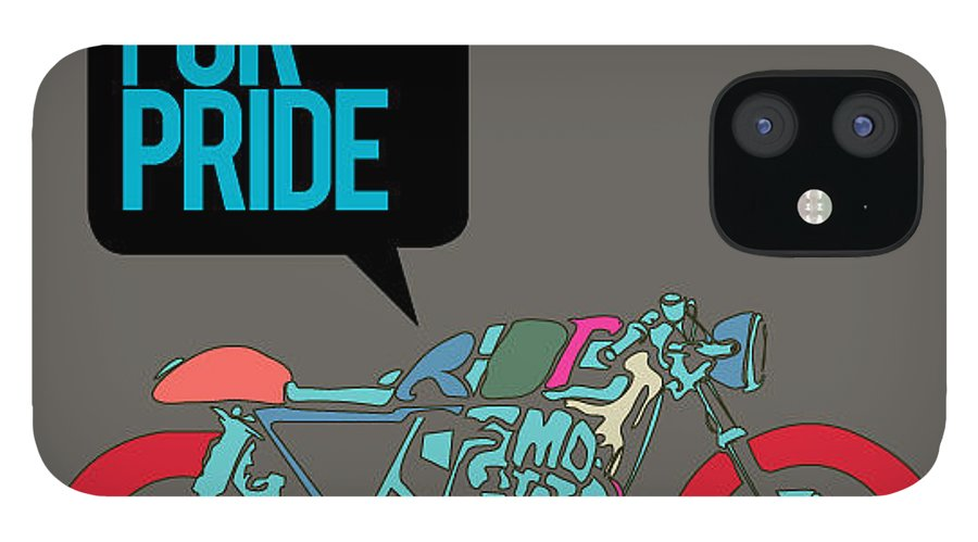 Motor IPhone 12 Case featuring the digital art Vector Motorbike Illustration Ride by Singpentinkhappy