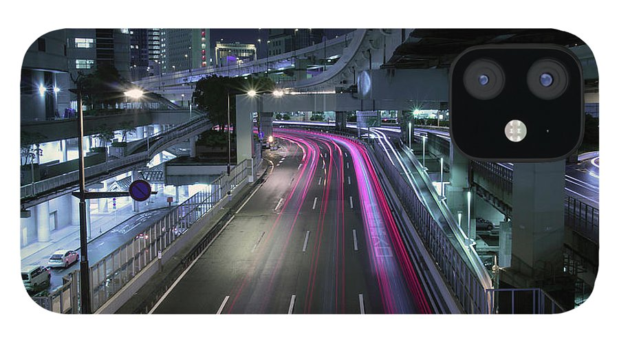 Yokohama IPhone 12 Case featuring the photograph Vehicle Light Trails On National Route 1 by Digipub