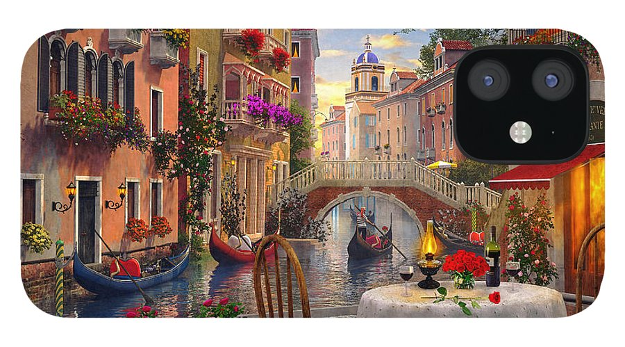 Dominic Davison iPhone 12 Case featuring the digital art Venice Al fresco by MGL Meiklejohn Graphics Licensing