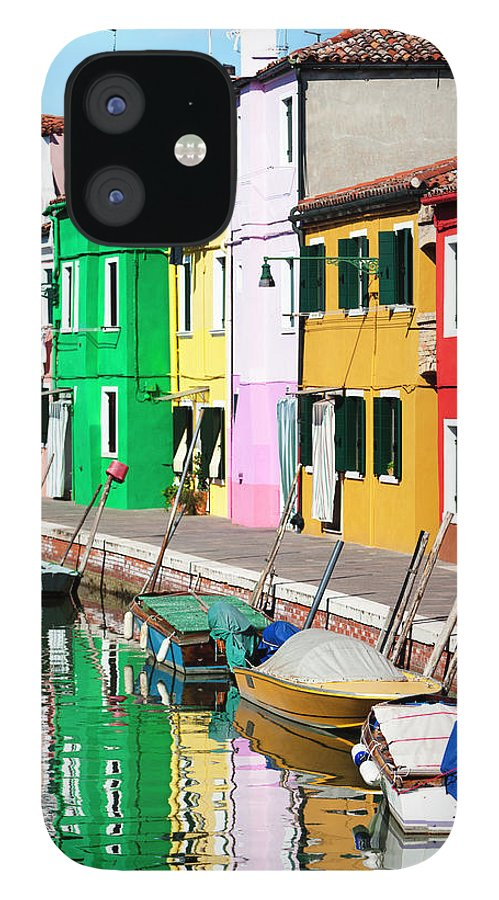 Row House IPhone 12 Case featuring the photograph Venice Burano Island by Nicolamargaret
