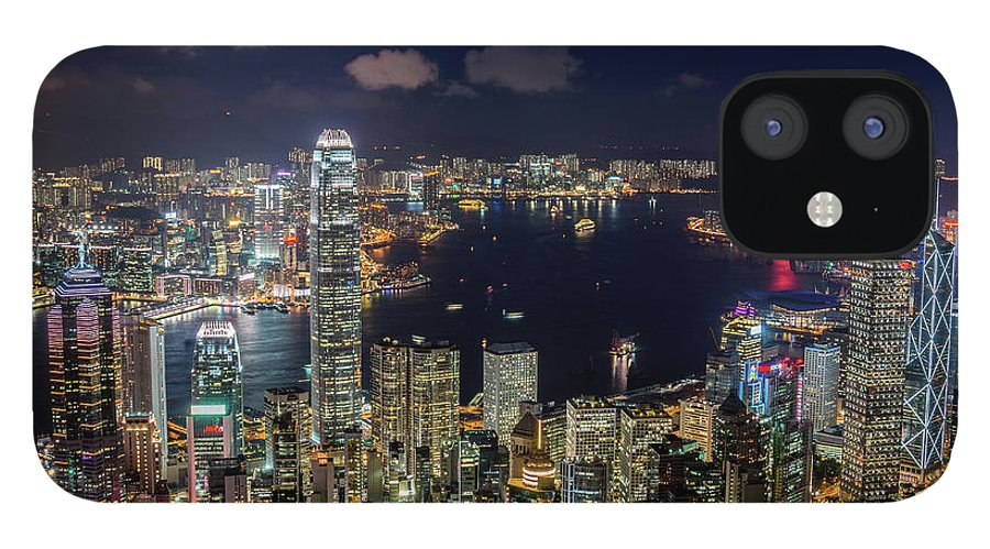 Downtown District iPhone 12 Case featuring the photograph View From Victoria Peak, Hong Kong by Wilfred Y Wong