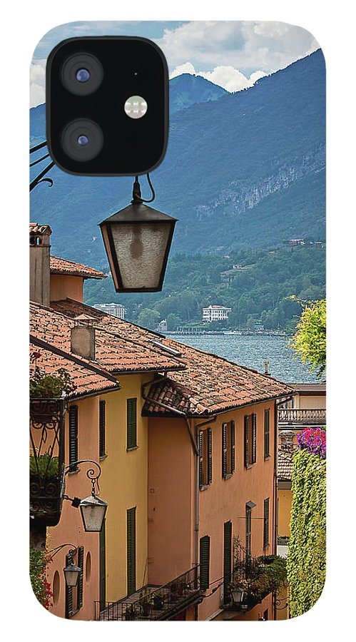 Tranquility IPhone 12 Case featuring the photograph View Of Lake Como From Upper Street by Melinda Moore