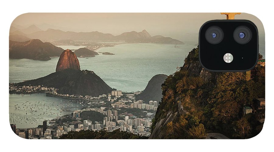 Outdoors IPhone 12 Case featuring the photograph View Of Rio De Janeiro At Sunset by Christian Adams