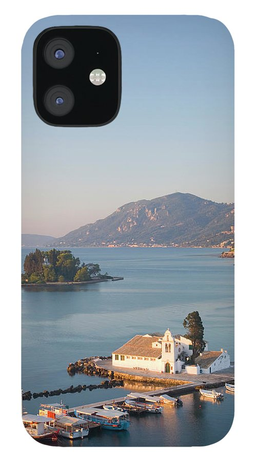 Scenics IPhone 12 Case featuring the photograph View To Vlacherna Monastery, Kanoni by David C Tomlinson