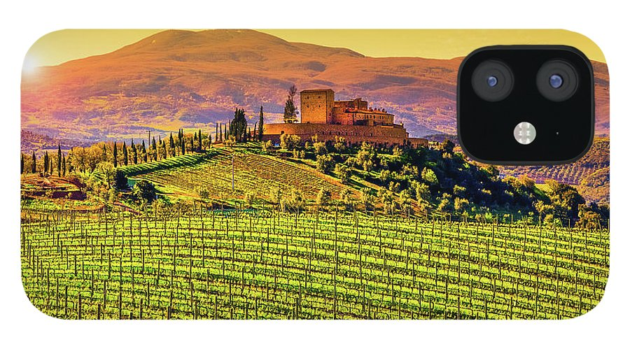Scenics IPhone 12 Case featuring the photograph Vineyard In Tuscany by Deimagine