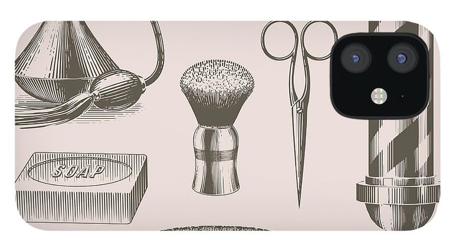 English Culture IPhone 12 Case featuring the digital art Vintage Barbershop Objects by Darumo