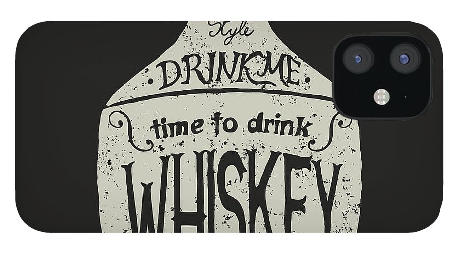 Typography IPhone 12 Case featuring the digital art Vintage Bottle Of Whiskey by Dimonika
