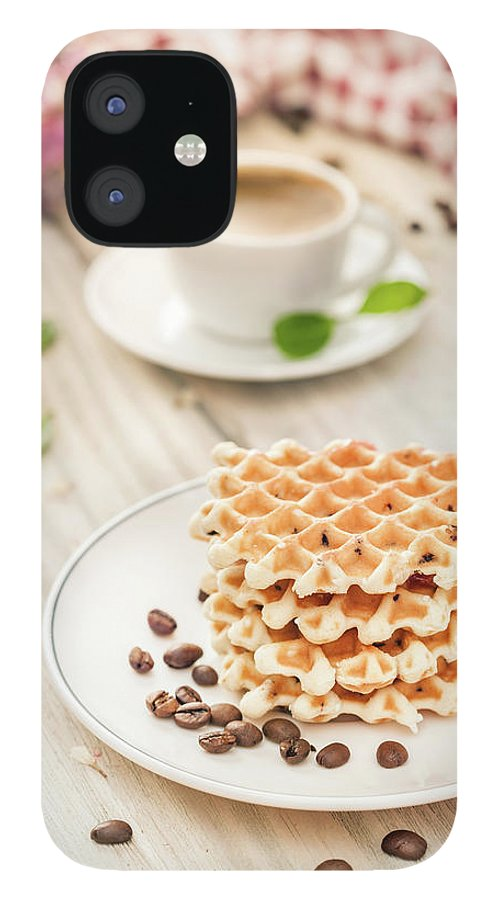 Breakfast IPhone 12 Case featuring the photograph Waffles With Coffee by Da-kuk
