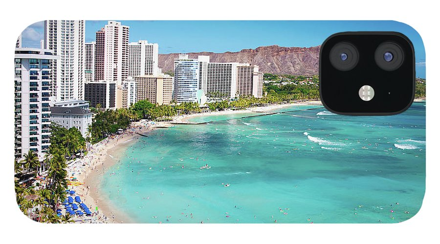 Water's Edge IPhone 12 Case featuring the photograph Waikiki Beach by M Swiet Productions