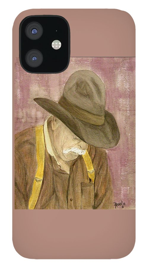 Western IPhone 12 Case featuring the painting Walter by Regan J Smith