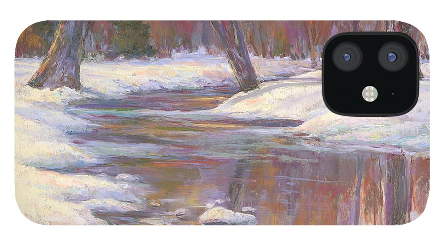 Snow And Stream IPhone 12 Case featuring the painting Warm Winter Reflections by Billie Colson