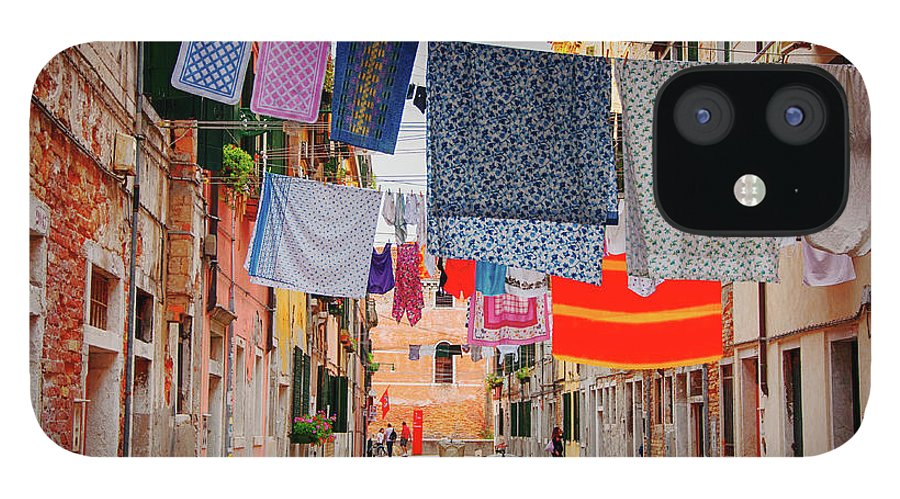 Hanging IPhone 12 Case featuring the photograph Washing Hanging Across Street, Venice by Svjetlana