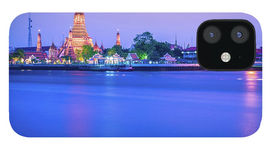 Scenics iPhone 12 Case featuring the photograph Wat Arun Temple Bangkok Thailand by Deimagine