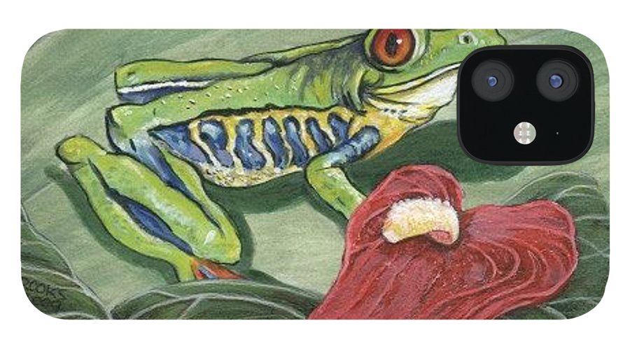 Red Eyed Tree Frog Painting By Richard Brooks. Frog IPhone 12 Case featuring the painting Watching. by Richard Brooks
