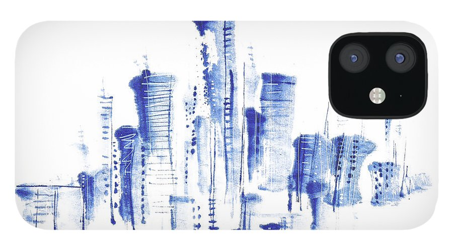 White Background iPhone 12 Case featuring the digital art Water-and-ink Cityscape by Bji/blue Jean Images