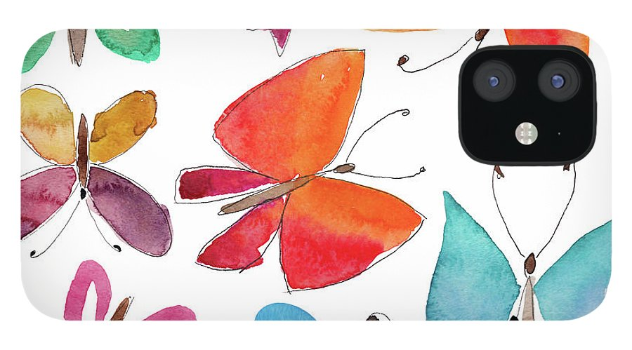Watercolor Painting iPhone 12 Case featuring the digital art Watercolor Butterflies by Anndoronina