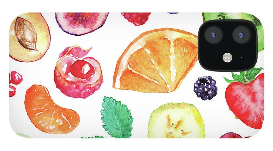 Cherry IPhone 12 Case featuring the digital art Watercolor Exotic Fruit Berry Slice Set by Silmairel