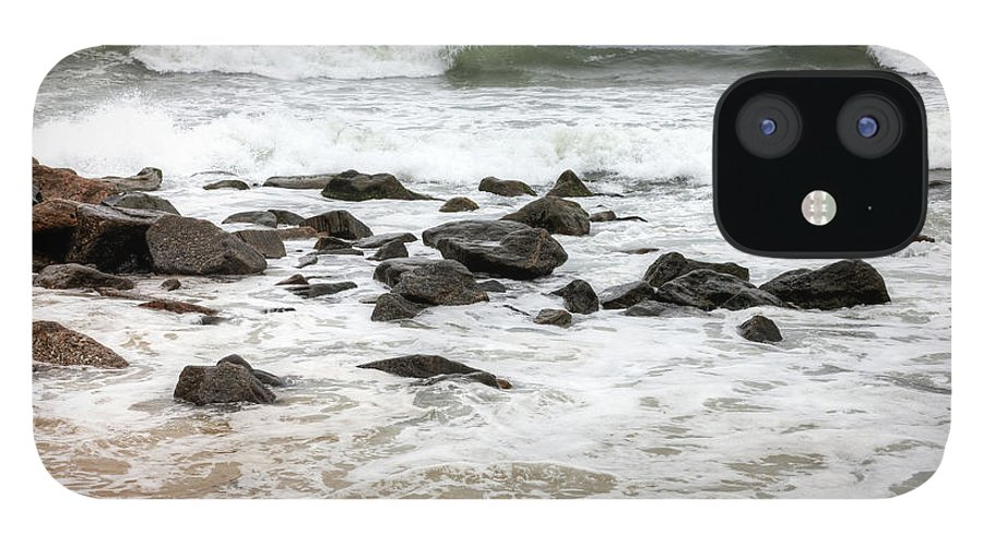 Water's Edge IPhone 12 Case featuring the photograph Waves Crashing On Copacabana Beach In by Tirc83