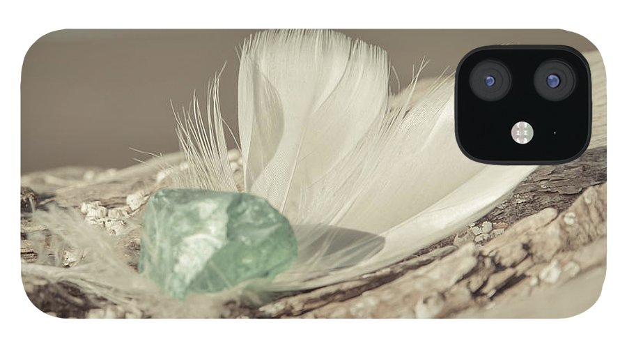 Sea Glass Feathers Photography Print IPhone 12 Case featuring the photograph Weighted Feathers by Lucid Mood