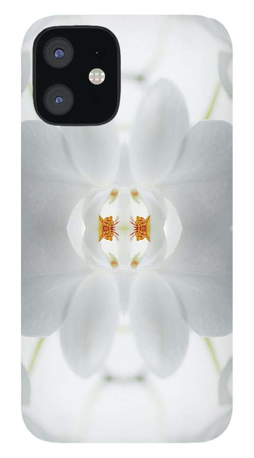 Tranquility IPhone 12 Case featuring the photograph White Orchid Flower by Silvia Otte