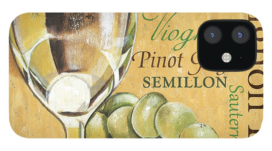 Wine IPhone 12 Case featuring the painting White Wine Text by Debbie DeWitt