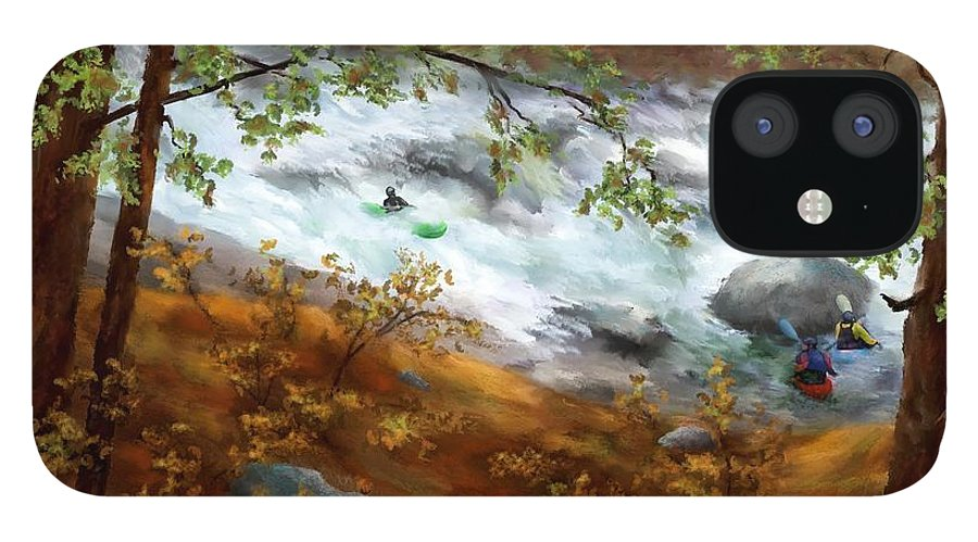 Whitewater Kayaking IPhone 12 Case featuring the painting Whitewater Kayaking by Judy Filarecki