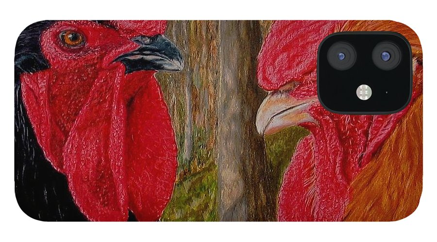 Roosters IPhone 12 Case featuring the painting Who You Calling Chicken by Karen Ilari