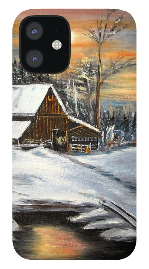 Landscape IPhone 12 Case featuring the painting Winter Barn by Kenneth LePoidevin