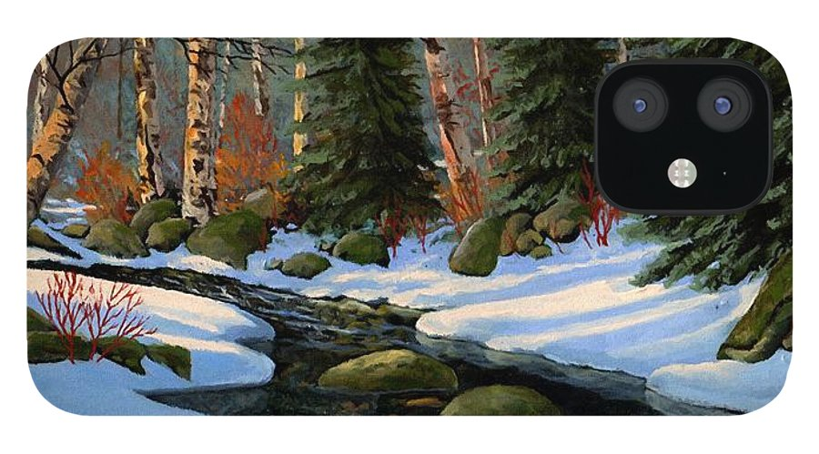 Landscape iPhone 12 Case featuring the painting Winter Brook by Frank Wilson