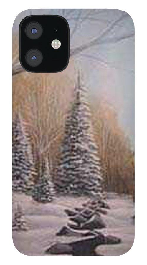 Rick Huotari IPhone 12 Case featuring the painting Winter Morning by Rick Huotari