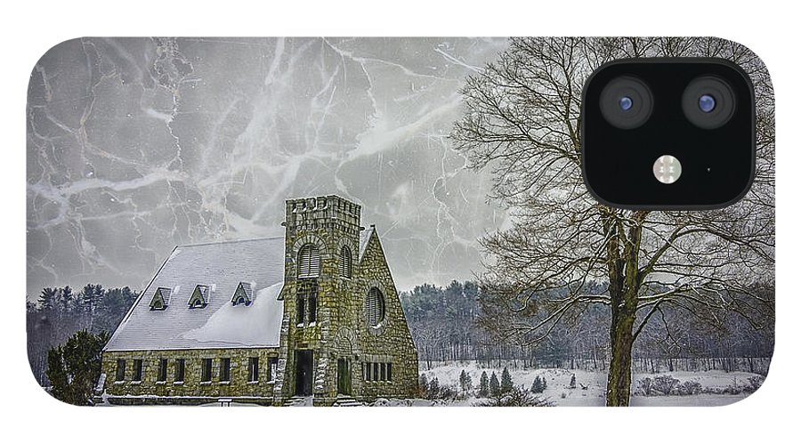 Winter IPhone 12 Case featuring the photograph Winter on the Old Stone Church by Bob Bernier