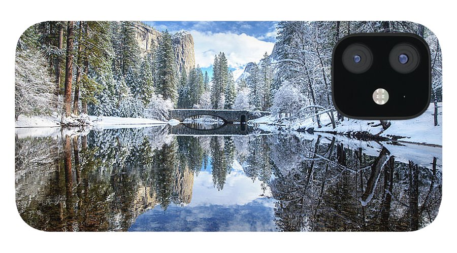 Scenics IPhone 12 Case featuring the photograph Winter Reflection At Yosemite by Piriya Photography
