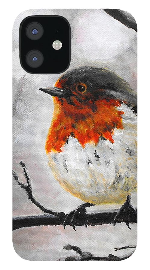Robin iPhone 12 Case featuring the painting Winter Robin by Caroline Cunningham