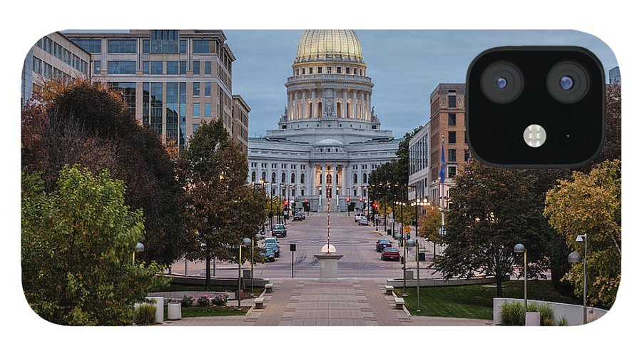 Land Vehicle IPhone 12 Case featuring the photograph Wisconsin State Capitol Building by Kenneth C. Zirkel