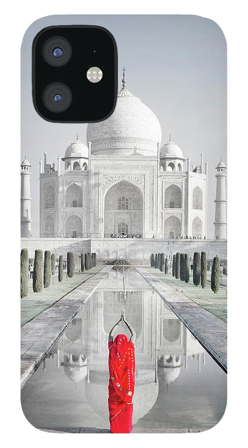 Tranquility IPhone 12 Case featuring the photograph Woman In Red Sari Praying At Taj Mahal by Grant Faint
