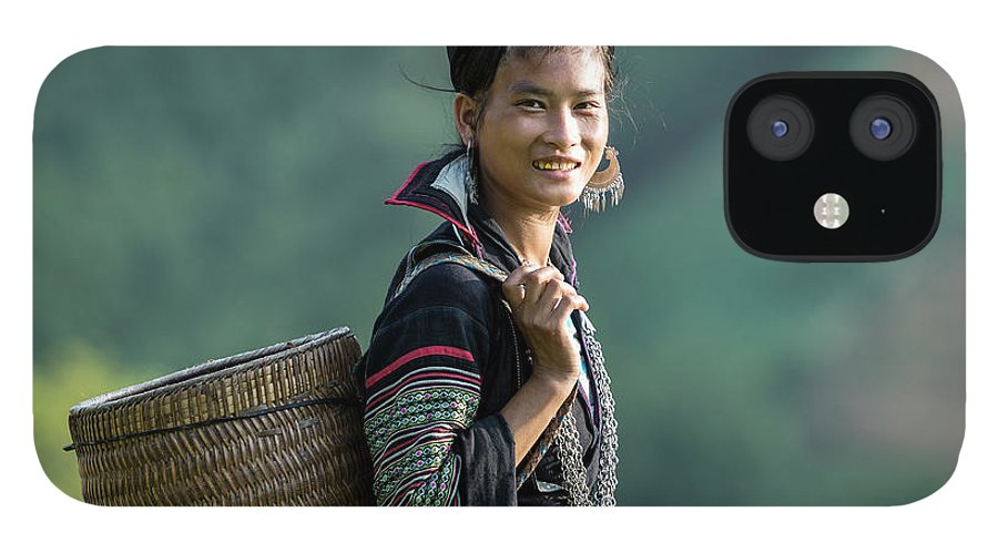 Farm Worker IPhone 12 Case featuring the photograph Woman Of Black Hmong Hill Tribe Next To by Martin Puddy