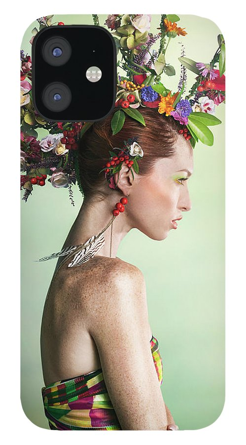 Art IPhone 12 Case featuring the photograph Woman Wearing A Colorful Floral Mohawk by Paper Boat Creative