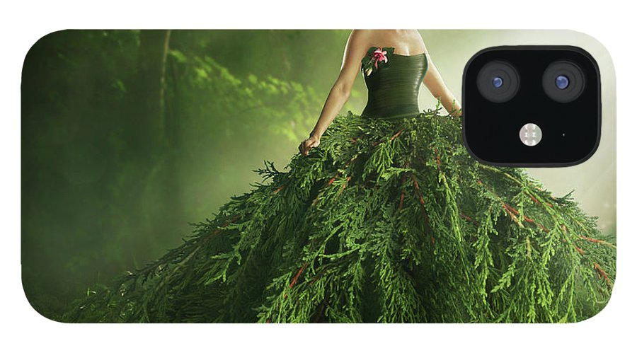 Environmental Conservation IPhone 12 Case featuring the photograph Woman Wearing A Large Green Gown In The by Paper Boat Creative