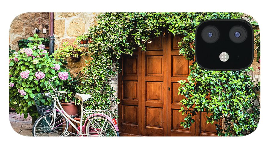Val D'orcia IPhone 12 Case featuring the photograph Wooden Gate With Plants In An Ancient by Giorgiomagini